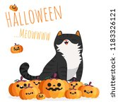 happy halloween. black cat... | Shutterstock .eps vector #1183326121