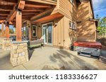 wooden home exterior with... | Shutterstock . vector #1183336627