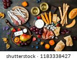 appetizers table with italian... | Shutterstock . vector #1183338427