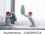 little boy and girl staged a... | Shutterstock . vector #1183344214