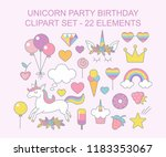 unicorn party birthday clipart... | Shutterstock .eps vector #1183353067