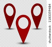 red map pin set with realistic... | Shutterstock .eps vector #1183359484