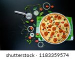 pizza with rinsed meat...   Shutterstock . vector #1183359574