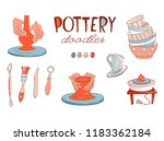 clay pottery workshop studio... | Shutterstock .eps vector #1183362184