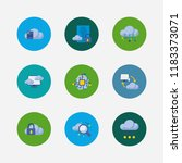 cloud service icons set. secure ...
