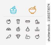meal icons set. healthy food...