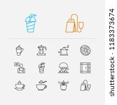 coffee icons set. donut and... | Shutterstock . vector #1183373674