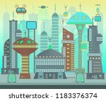 futuristic city set in flat... | Shutterstock .eps vector #1183376374
