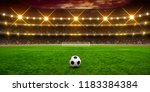 soccer ball on stadium  arena... | Shutterstock . vector #1183384384