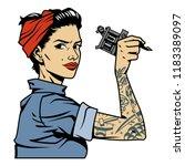 vintage colorful mechanic girl...   Shutterstock .eps vector #1183389097