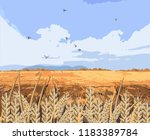 wheat field vector background.... | Shutterstock .eps vector #1183389784