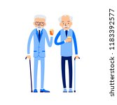 two senior men with canes stand ... | Shutterstock .eps vector #1183392577