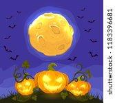 lanterns. smiling pumpkins on... | Shutterstock .eps vector #1183396681