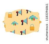 cloud bullhorn and padlock... | Shutterstock .eps vector #1183396861
