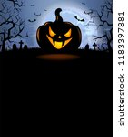 halloween background with scary ... | Shutterstock .eps vector #1183397881