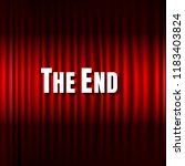 red stage curtain and the end... | Shutterstock . vector #1183403824