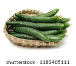 green cucumber on the white... | Shutterstock . vector #1183405111
