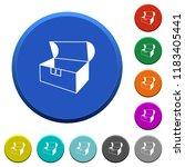 empty open coffer round color...   Shutterstock .eps vector #1183405441