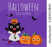 halloween background with... | Shutterstock .eps vector #1183413844