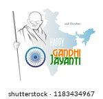 october 2. happy gandhi jayanti.... | Shutterstock .eps vector #1183434967