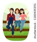 illustration of teenage girls... | Shutterstock .eps vector #1183435351