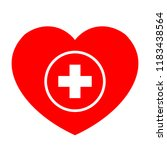 red heart first aid icon  red... | Shutterstock .eps vector #1183438564