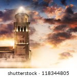 ancient tower topped with... | Shutterstock . vector #118344805