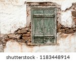 old wooden window with green... | Shutterstock . vector #1183448914