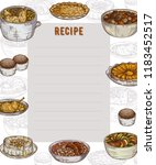 recipe card. cookbook page.... | Shutterstock .eps vector #1183452517