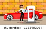 woman charges an electric car... | Shutterstock .eps vector #1183453084
