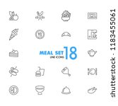 meal icons. set of line icons.... | Shutterstock .eps vector #1183455061