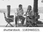 portrait of young couple in 1950 | Shutterstock . vector #1183460221