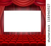 cinema screen with red curtains  | Shutterstock . vector #1183460527