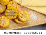 bbq grill corn sliced and rock... | Shutterstock . vector #1183465711