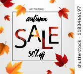 autumn sale poster with leaf | Shutterstock . vector #1183466197