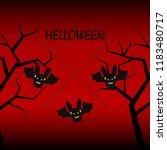 halloween bat night vector... | Shutterstock .eps vector #1183480717