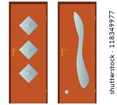 two types of doors on a white...   Shutterstock . vector #118349977