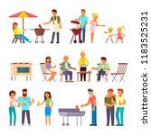 barbecue people icon set. flat... | Shutterstock . vector #1183525231