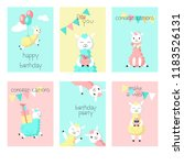 cute alpaca birthday greeting... | Shutterstock . vector #1183526131