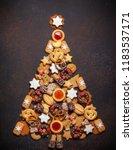 assorted christmas cookies in... | Shutterstock . vector #1183537171