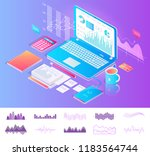 laptop on desktop with diagrams ... | Shutterstock .eps vector #1183564744