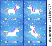 girlish unicorns with rainbow... | Shutterstock .eps vector #1183564777
