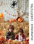 creative little boys working on ... | Shutterstock . vector #1183572781