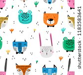 childish seamless pattern with... | Shutterstock .eps vector #1183583641
