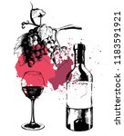 vector hand drawn wine set on... | Shutterstock .eps vector #1183591921