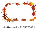 frame of beautiful autumnal red ... | Shutterstock . vector #1183595611