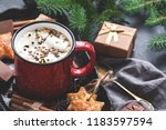 hot chocolate with marshmallow... | Shutterstock . vector #1183597594