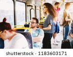 side view of a people in a bus... | Shutterstock . vector #1183603171