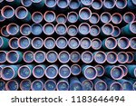 rack of numbered iron pipes... | Shutterstock . vector #1183646494