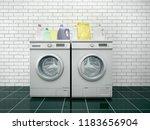 laundry. washing machine and... | Shutterstock . vector #1183656904